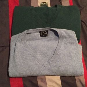 S/2 Jos A. Bank Travelers Collection 100% Cashmere